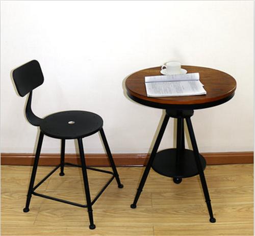 复古铁木圆桌