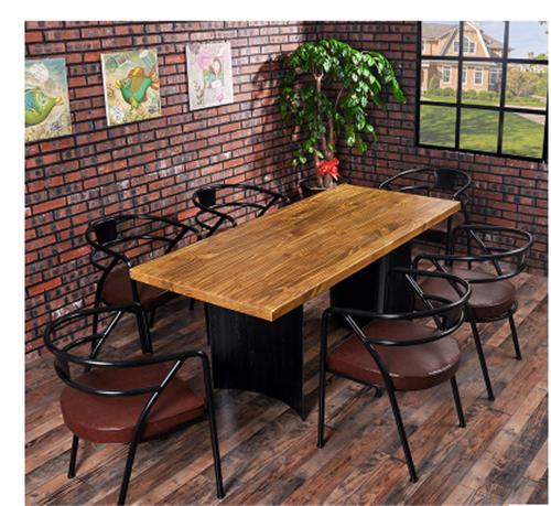 美式铁木仿古餐桌