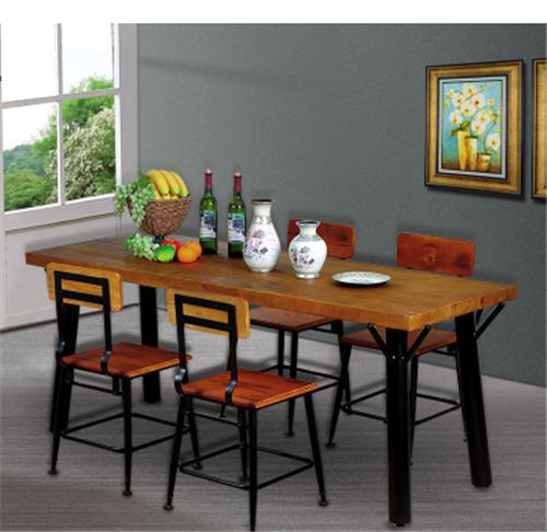 美式乡村风格铁木复古餐桌